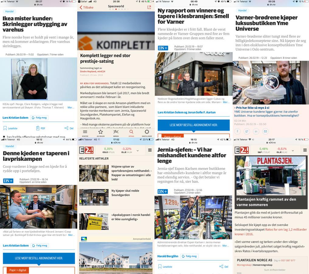 Her ser vi flere medieoppslag som illustrerer endringene i bransjen.